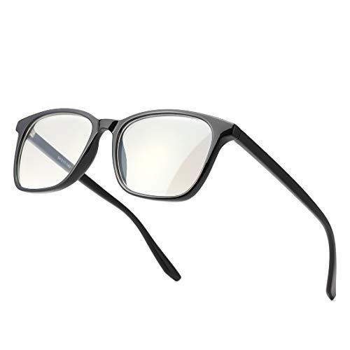 kimorn Occhiali Blocca la Luce Blu Piazza Montature per occhiali da donna uomo Anti Blue Ray KS084 (Montatura nera lucida/Lente chiara anti-blu)