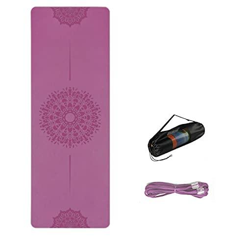 lgnoran Esterilla de yoga TPE para el hogar con línea de posición antideslizante deportes fitness pilates principiantes