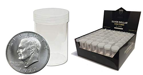 (10) Individual NEW Round Ultra Clear PREMIUM Plastic Eagle/ Ike / Morgan Large Silver DOLLAR Coin Tubes with Screw On…