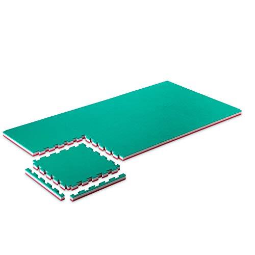 ProGame Kit 8 Piezas Tatami Gimnasio 4 cm Performance-Home Verde/Rojo 50x50 cm Tatami Judo Alfombra