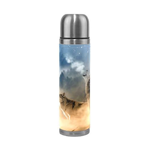 MUMIMIMI - Borraccia Termica in Acciaio Inox con Stampa di Lupo, da 500 ml, per Sport, caffè, Viaggi, in Vera Pelle, Senza BPA