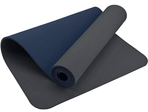 Premium ReFit Yogamatte aus hochwertigem TPE - grau Nachtblau blau Gray anthrazit Blue rutschfest schadstofffrei hypoallergen geruchslos hautfreundlich eco Fitness Pilates 183 x 61 x 0,6 cm Trageband