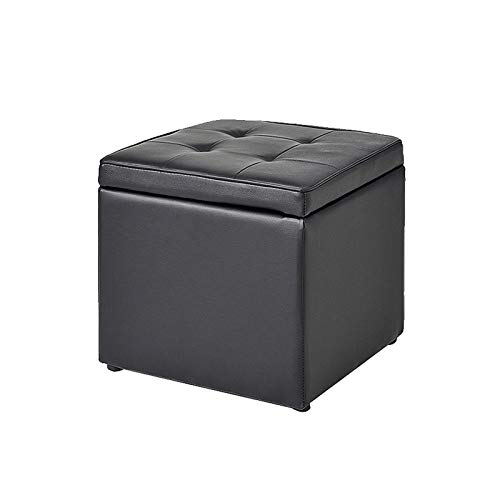 ZTCWS Storage Ottoman Cube Ottomans with Storage Foot Rest Stool Seat Ottoman Square Toy Chest Padded with Memory Foam Lid Sofa for Space Saving,Black