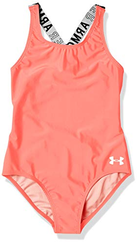 Under Armour Girls' Big One Piece Swimsuit, Bubble Gum sp20, 14
