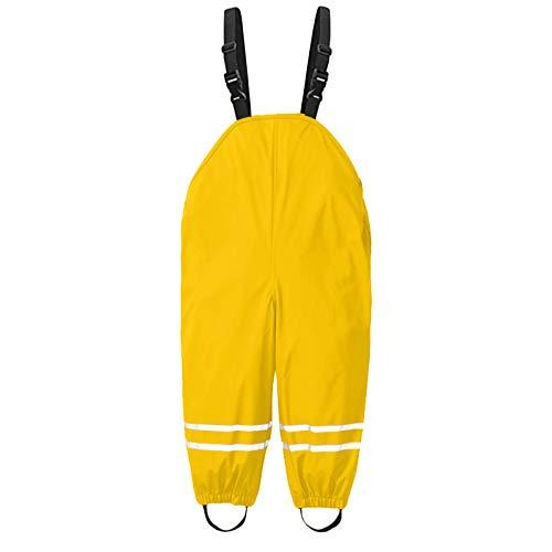 Regenhose Kinder Wind- und wasserdichte Atmungsaktiv Buddelhose Matschhose für Mädchen Jungen Outdoorhose Regenlatzhose Verstellbaren Trägern Fahrrad Sport Rain Pants