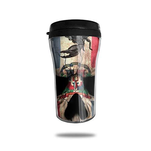 OUYouDeFangA - Taza de café con diseño de Calavera de la Bandera Dominicana para Viaje, con impresión 3D, Taza de té, Vasos de Agua aislados para Beber con Tapa, 250 ml