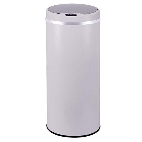 Poubelle de cuisine automatique 42L SOHO Blanc mat en acier INOX avec cerclage