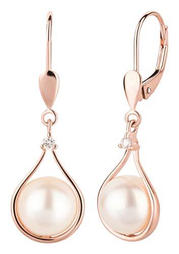 Ardeo Aurum Damen Hänge-Ohrringe aus 375 Gold Roségold mit 0,04 ct Diamant Brillant 8,0 mm Perlen Brisuren Hänger Tropfen-Design