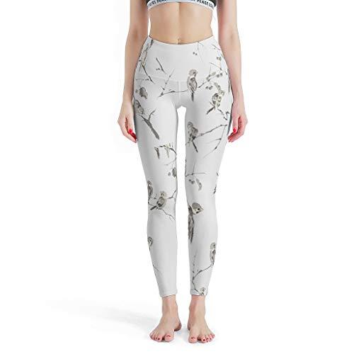 Annlotte Little Bird - Leggings largos para mujer, diseño de pantalones de yoga suaves para fitness, ciclismo, color blanco