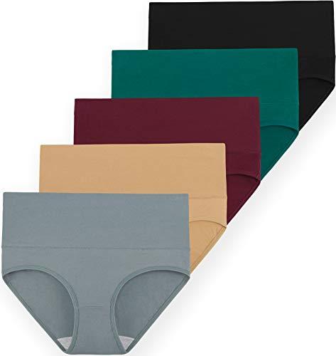 INNERSY Unterwäsche Damen Set Bauchweg Unterhose Hoher Taille Slim Slip 5er Pack (46, Mehrfarbig 5H)