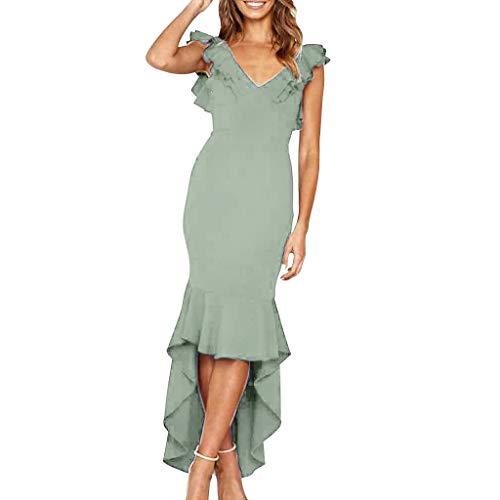 Howley Fashion Sexy Solid Color V-neck Halter Sleeveless Ruffle Trim Sleeve Irregular Hem Slim Dress (Green, S)