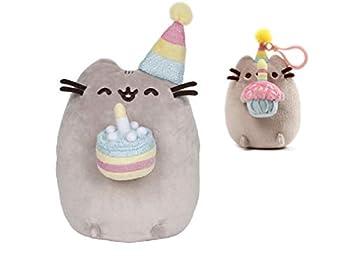 DHE Gund Pusheen Birthday Cake 9.5 Inch Plush and Cupcake Backpack Clip Bundle of 2