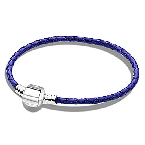 DUKAILIN Personality Braceletcolor doble anillo trenzado mujer pulsera dibujos animados marca encanto plata hebilla pulsera regalo azul