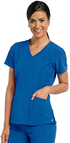 BARCO One 5105 Women s Racer V Neck Scrub Top New Royal M product image
