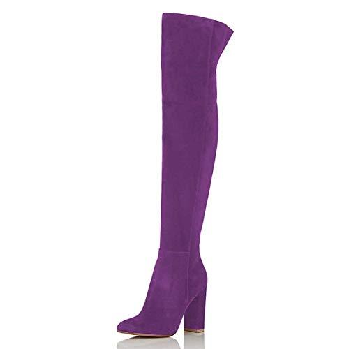 FSJ Women Over The Knee Chunky High Heels Stretch Thigh High Zipper Long Boots Shoes Size 9.5 Purple