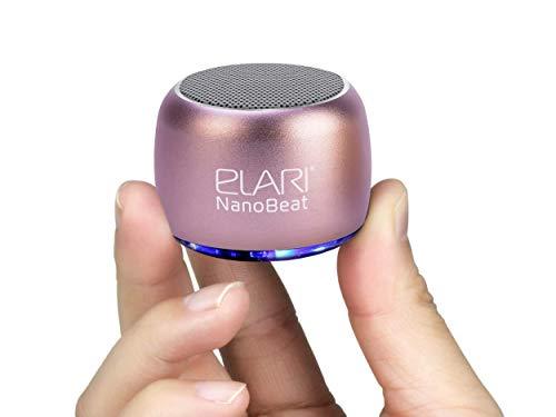 Mini Altavoz Bluetooth Potente Inalámbrico, con Micrófono, Carcasa Metálica Robusta, Luz LED, 5 Horas de Reproducción, Se Pueden Unir Dos para Sonido Estéreo - Elari NanoBeat (Oro Rosa)