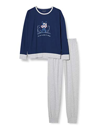 Schiesser Mädchen Schlafanzug lang Pyjamaset, dunkelblau, 140