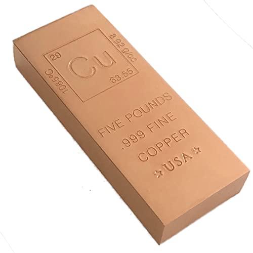 5 Pound Copper Bar Bullion with Element Design - .999 Pure