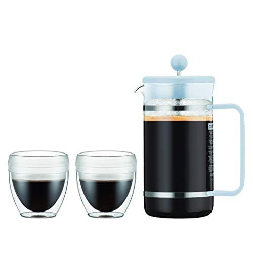Bodum K1508-338-10-Y19 BISTRO Kaffeebereiter, 8 Tassen, 1.0 l mit 2 doppelwandigen 0.25 l PC Bechern, Glas
