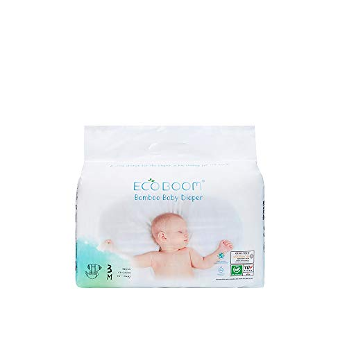 ECO BOOM Bambus-Baby-Windeln, 100% natürliche Bio-Windeln, Anti-Leck-System, Öko-Einweg-Windeln, Größe 3 (5,9-10 kg), weich, empfindlich für biologisch abbaubare Windeln, 32 Stück