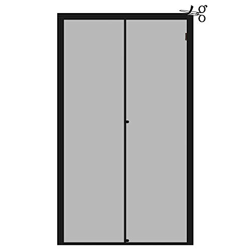 Yotache Adjustable Screen Doors with Magnets Fit Doors Size Width 36' - 40' Height 81' - 83', Strengthened Fiberglass Mosquito Net with Full Frame Hook&Loop Strip