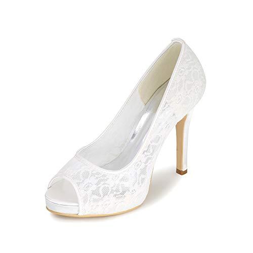 Brautschuhe Damen Peep Toe Spitze Mesh-Stoff Stiletto Brautschuhe Art Und Weise Bequeme Peep Toe Pumps,Weiß,37 EU