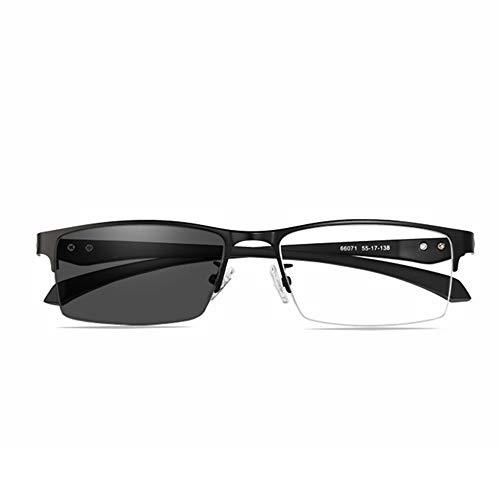YIRC Übergang Lesebrillen Photochrome Bifokal Brille Augenoptik Herren Metallrahmen Selbsttönende Halbrandbrille Ultraleichte Schwarz +1.50