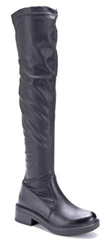 Schuhtempel24 Damen Schuhe Overknee Stiefel Stiefeletten Boots schwarz Blockabsatz schlupf 4 cm