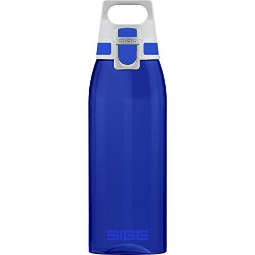 SIGG Total Color Blue Trinkflasche (1 L), schadstofffreie und auslaufsichere Trinkflasche, leichte und bruchfeste Trinkflasche aus Tritan
