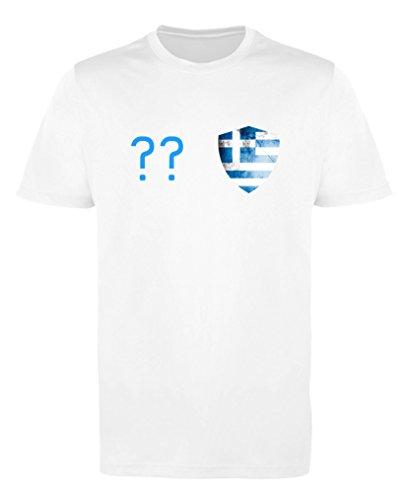 Comedy Shirts - Griechenland Trikot - Wappen: Klein - Wunsch - Herren Trikot - Weiss/Blau Gr. S