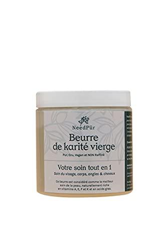Manteca de karité virgen 100 % puro - NeedPür - No refinada, crudo y vegano. Cuidado hiperhidratante naturalmente orgánico para tu piel, del cuerpo, cara, manos, pies, cabello, tatuajes - 500 g
