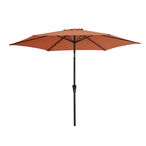 AmazonBasics Outdoor Market Patio Steel Umbrella - 9 Foot, Terra Cotta Red