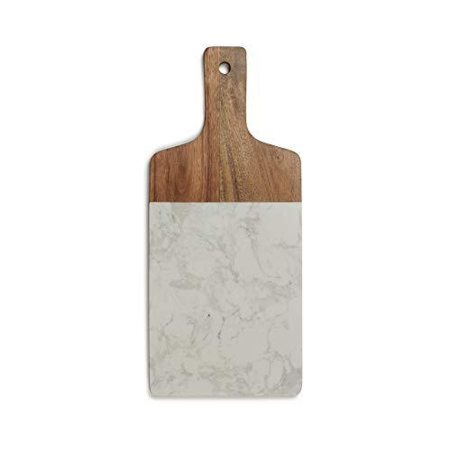 Tabla de cortar de madera con mango de madera, tabla de cocina de mármol, 37 x 16 cm, tabla de cortar (tabla de cortar con mango, tabla, gancho para colgar)