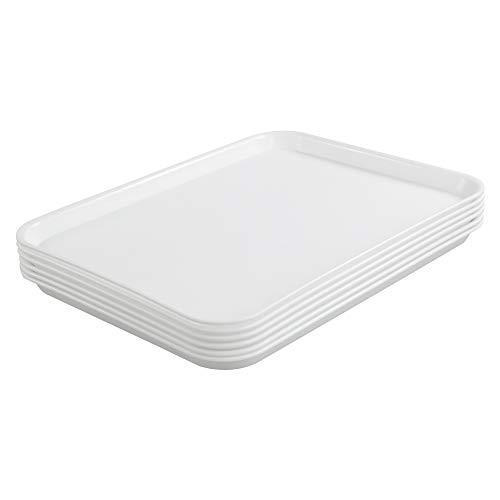 DynkoNA Restaurant Food Trays Serving Tray Plastic Set of 6 White