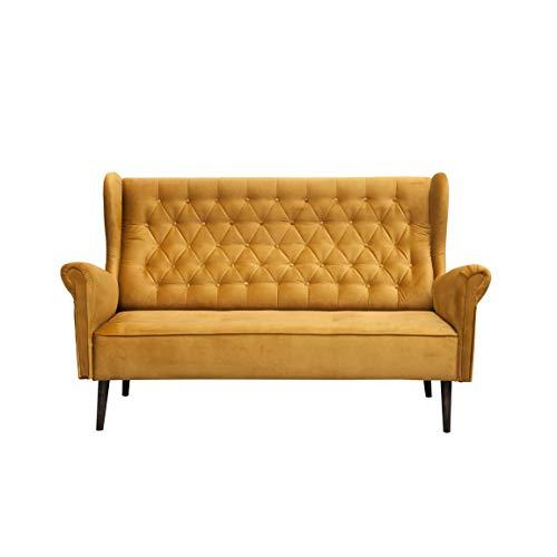 MOEBLO Ohrensofa 3 Sitzer Sofa Couch Garnitur Stoff Samt (Velour) Glamour Wohnlandschaft Chesterfield - Velo (Gold, 3-Sitzer)