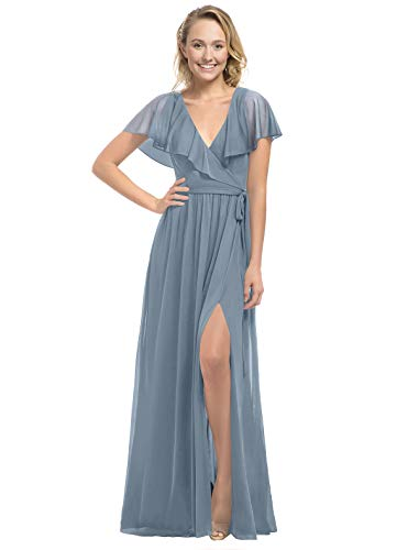 Women's V Neck Short Sleeves Split Ruffled Evening Dresses Long Chiffon Prom Dress Dusty Blue Size 8