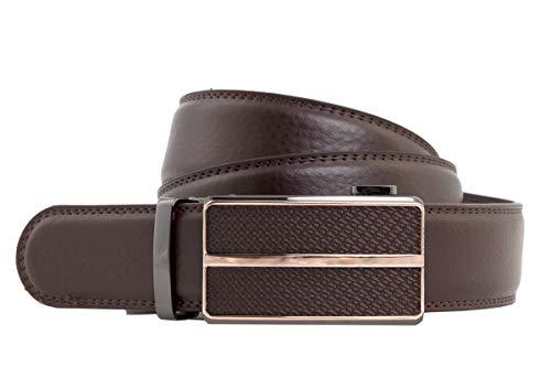 shenky - Cinturón con hebilla automática - Cuero auténtico - 4cm de ancho - Longitud total 120 cm - S078 Marrón