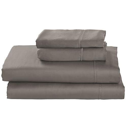 Amazon Brand – Stone & Beam Wrinkle-Resitant 100% Tencel Bed Sheet Set, Queen, Smoke