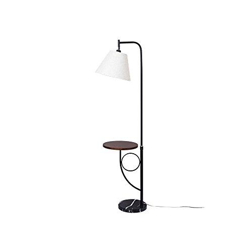 MEHE@ mode personnalité créatif Lampe de plancher simple en bois de style moderne Lampe en tissu de corps Lampe en bois Table ronde E27 Lampe sur pied Lampadaires (Couleur : Black Walnut Round Table)