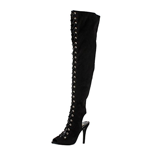 Breckelle's Womens Randi-23 Faux Suede Lace Up Back Cut Out Thigh High Boot,Black,6.5