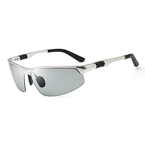 Yeeseu Gafas de sol polarizadas cambio del color de UV protección gafas de sol de conducción deportiva de aluminio y magnesio ultraligero gafas de sol gafas de moda (Color: gris oscuro, tamaño: Libre)
