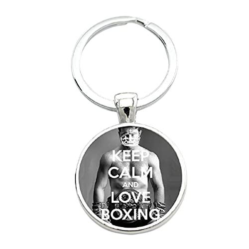 Marca de moda fresco hombres deportes Boxeo llavero vintage Keep Calm and Love Boxing cristal arte llavero anillo joyería