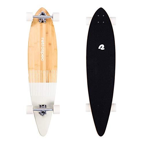 Retrospec Zed Pintail Longboard Skateboard Komplett Cruiser | Bambus & kanadisches Ahornholz Cruiser mit Reverse Kingpin Trucks für Pendeln, Cruisen, Carving & Downhill Reiten