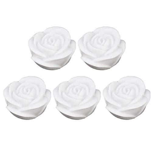 HMHMVM 5 Stück flammenlose Kerze Blume Nachtlicht LED Teelichter wasserdichte schwimmende Rose für Pool Garden Aquarium Hochzeitsfeier