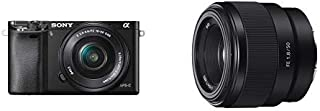 Sony ILCE6000L/B 24.3MP SLR Camera with 3.0-Inch LCD and 16-50mm Power Zoom Lens (Black) with Fe 50mm F1.8 Lens (SEL50F18F/2)