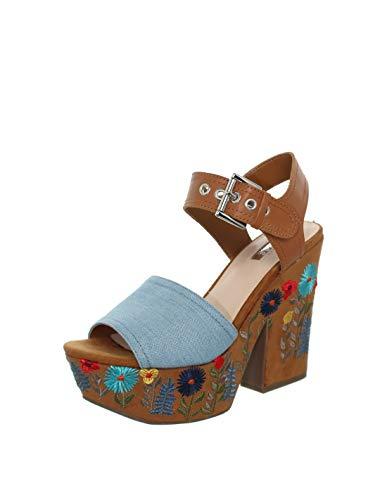Guess Sandalias de Las Mujeres en Azul y marrón de Tela de Gamuza con Estampado de Flores Bordado en el talón y la Plataforma. La fijación de la Correa del Tobillo. DQO. FLCAA1DEN03 TAMAÑO 41