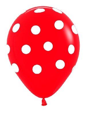 Sempertex - Bolsa de 10 globos sempertex r12 de 30 cm color fashion solido rojo puntos blancos