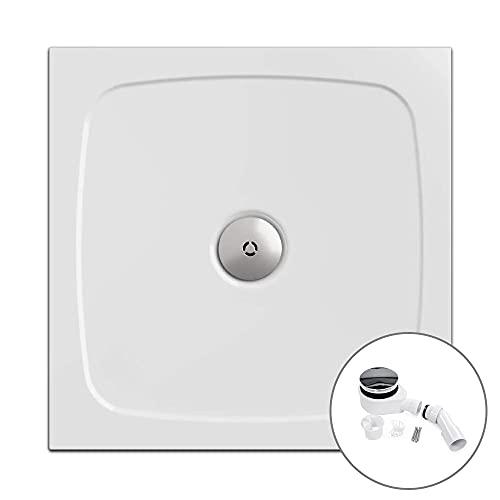 Ensemble complet - Bac à douche avec siphon | Receveur de douche, carré 90 x 90 cm | Nordona® SIMPLEX | Extra plat à encastrer: 3 cm