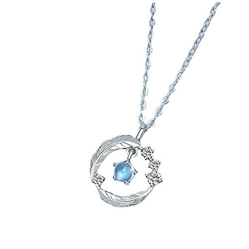 Collar de diseño de moda de Color plateado, collar con colgante de plumas, collar de circonita de cristal azul claro para mujer, elegante regalo de joyería de boda