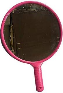 Victor Enterprises Large Round Plastic Handheld Mirror for Barber or Saloon, Dark Pink